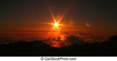 haleakala, východ slunce