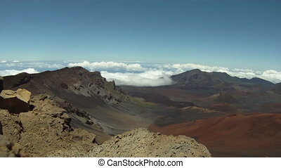 Haleakala Volcano Vista pan down - Clouds rest in the valley...