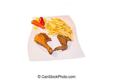 Half a chicken with chips