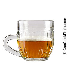 half a glass of beer in a traditional mug