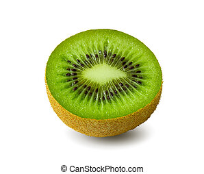 Half a kiwi fruit isolated on white. Clipping path.