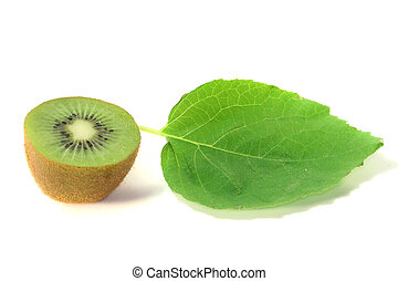 half a kiwi fruit with leaf on a white background