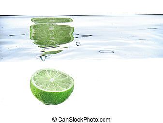 lime just after falling under the water