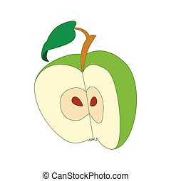Half apple icon, cartoon style