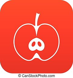 Half apple icon digital red