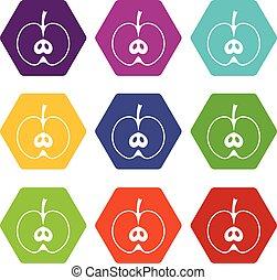 Half apple icon set color hexahedron