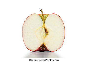 Half apple on a white background
