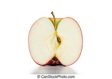 Half apple on a white background