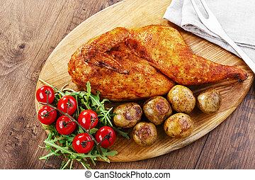 half baked chicken with new potatoe