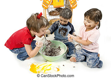 Half Baked - Three adorable toddlers (2, 3 and 4) stirring...