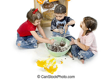 Half Baked - Three adorable toddlers (2, 3 and 4) stirring ...