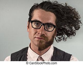 Half Beard Split - Split personality man with half beard...
