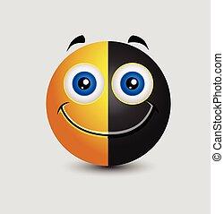 Half Black Happy Smiley Expression