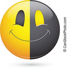 Half Black Happy Smiley Face Vector