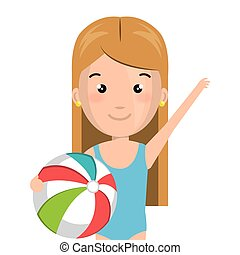 half body cartoon blond girl with summer swimsuit and ball