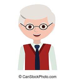 half body elderly man with glasses