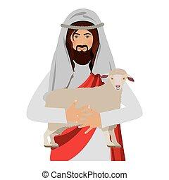 half body jesus carrying a sheep