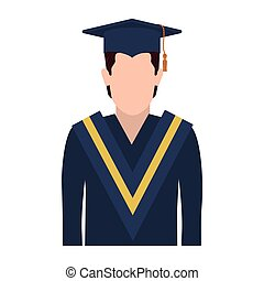 half body man with graduation outfit