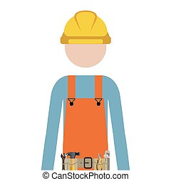 half body man worker with toolkit