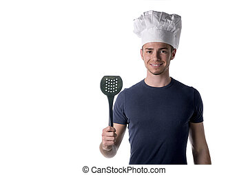 Half Body Portrait of Young Male Chef Wearing White Hat with...