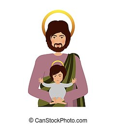 half body saint joseph with baby jesus