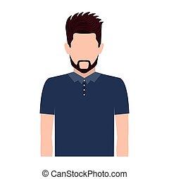 half body silhouette man with beard