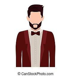 half body silhouette man with bowtie
