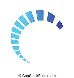 Half circle loading swoosh vector design on blue color shades