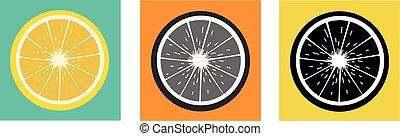 Half Citrus Fruit Circular Icon Color Variation