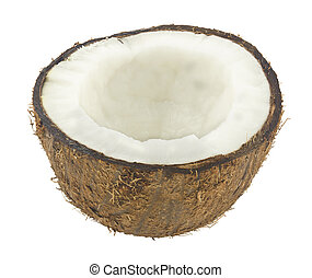 Half coconut Isolated on a white background.