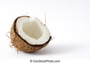 Half coconut isolated on white background. Copyspace.
