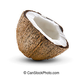 Half Coconut isolated on white background