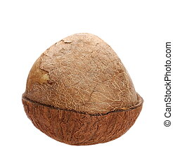 Half coconut isolated on white