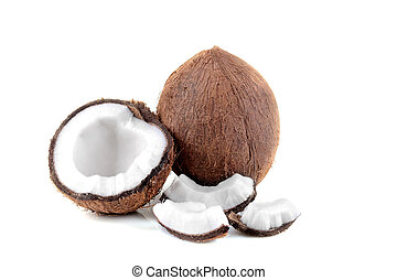 half coconut with slices of coconut on white background isolated