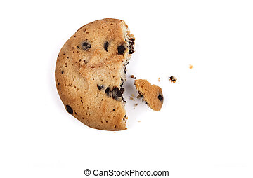Half chocolate chip cookie isolated on white
