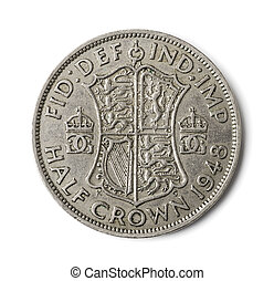 Old British half crown coin isolated on white