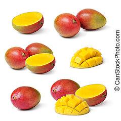 mango - Half cut and whole mango fruits on white background