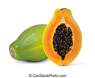 papaya - Half cut and whole papaya fruits on white...