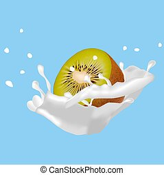 Half-cut kiwi in splashes of fresh milk or cream.