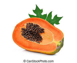 half cut of ripe papaya with leaf isolated on white background