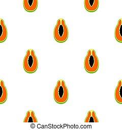 Half cut papaya fruit pattern seamless