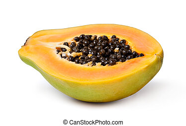 papaya - Half cut papaya fruits on white background