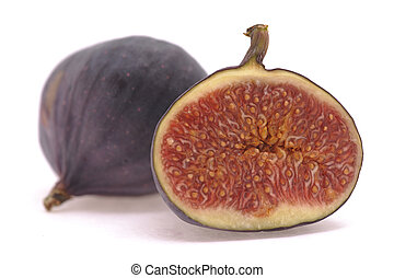 half cutted fig fruit on white background