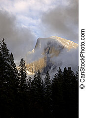 Half Dome in Clouds - Half Dome and silhouetted pine trees,...