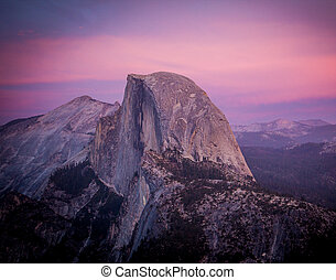 Half dome yosemite at sunset