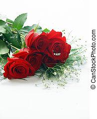 Half Dozen Roses with Diamond Ring