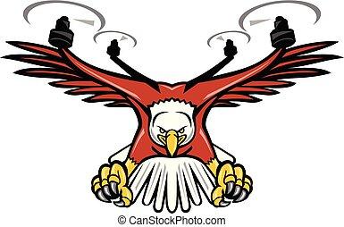 Half Eagle Half Drone Swooping Mascot