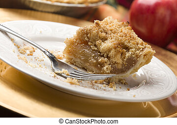 Half Eaten Apple Pie Slice with Crumb Topping