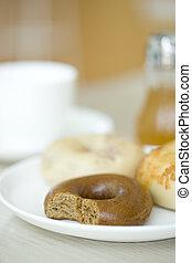 Half-eaten bagel