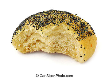 close-up of half-eaten poppy seed bun isolated on white background